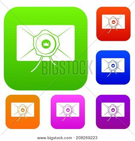 Envelope with wax seal set icon color in flat style isolated on white. Collection sings vector illustration