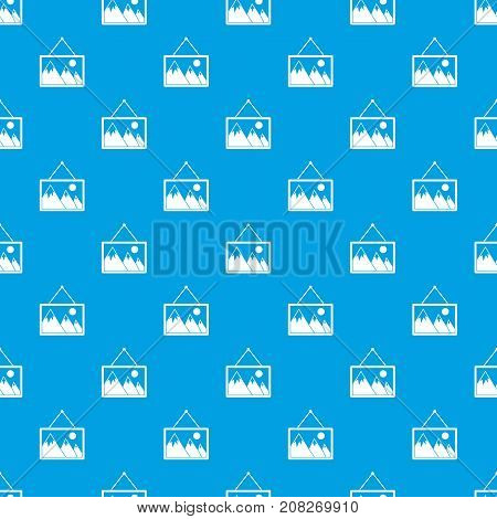Painting with nature pattern repeat seamless in blue color for any design. Vector geometric illustration