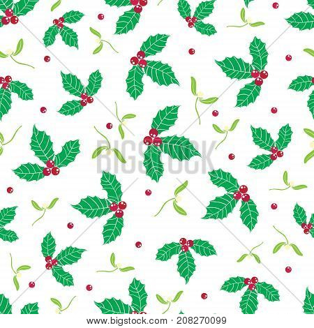 Vector green, red holly berry and mistletoe holiday seamless pattern background. Great for winter themed packaging, giftwrap, gifts projects. Surface pattern print design.
