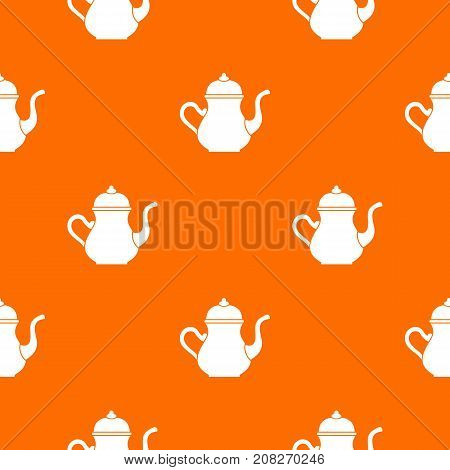 Traditional Turkish teapot pattern repeat seamless in orange color for any design. Vector geometric illustration