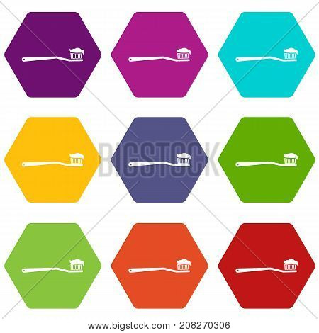 Toothbrush icon set many color hexahedron isolated on white vector illustration