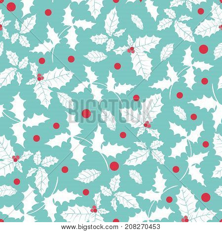 Vector blue, red, white holly berry holiday seamless pattern background. Great for winter themed packaging, giftwrap, gifts projects. Surface pattern print design.