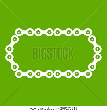 Bicycle chain icon white isolated on green background. Vector illustration