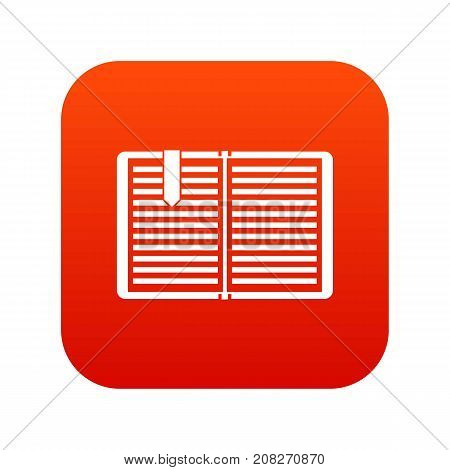 Open book with red bookmark icon digital red for any design isolated on white vector illustration