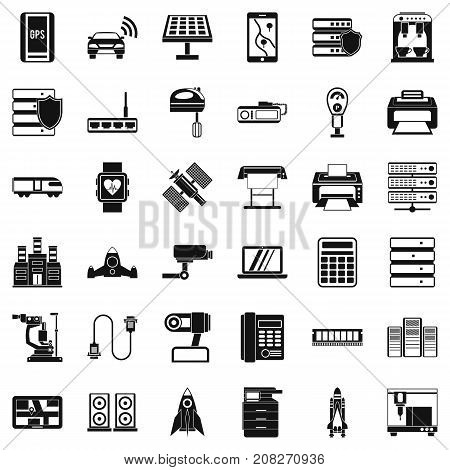 Hardware icons set. Simple style of 36 hardware vector icons for web isolated on white background