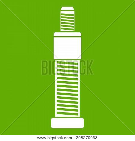 Screw and bolt icon white isolated on green background. Vector illustration
