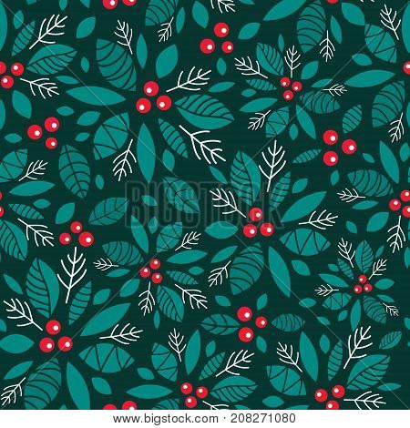 Vector holly berry dark green, red holiday seamless pattern background. Great for winter themed packaging, giftwrap, gifts projects. Surface pattern print design.