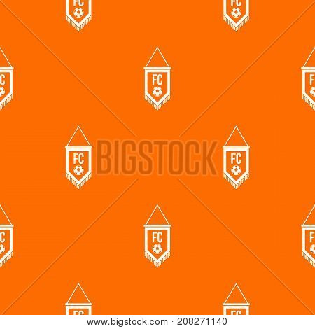 Pennant with soccer ball pattern repeat seamless in orange color for any design. Vector geometric illustration