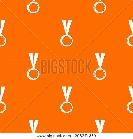Medal pattern repeat seamless in orange color for any design. Vector geometric illustration