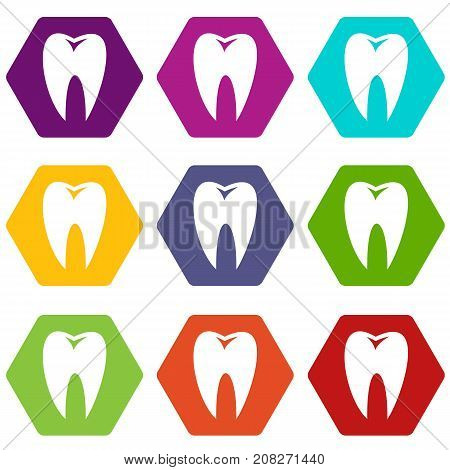 Tooth icon set many color hexagon isolated on white vector illustration