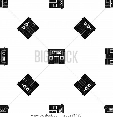 Tattoo salon building pattern repeat seamless in black color for any design. Vector geometric illustration