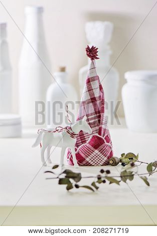 Red And White Napkin Folded,  Forming A Christmas Tree