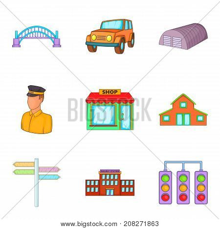 Provincial city icons set. Cartoon set of 9 provincial city vector icons for web isolated on white background