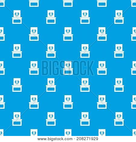 Diamond in box pattern repeat seamless in blue color for any design. Vector geometric illustration