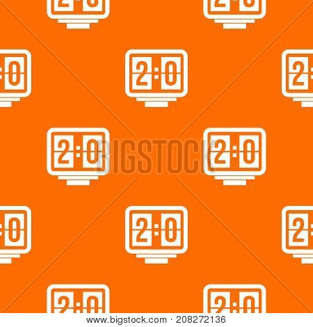 Soccer scoreboard pattern repeat seamless in orange color for any design. Vector geometric illustration