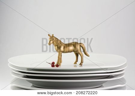 Plates Stacked Dishes And Clean White Horse And Gold Tableware, Conceptual Food