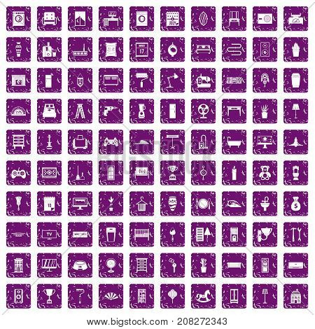 100 home icons set in grunge style purple color isolated on white background vector illustration