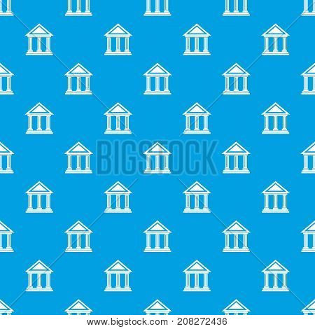 Colonnade pattern repeat seamless in blue color for any design. Vector geometric illustration