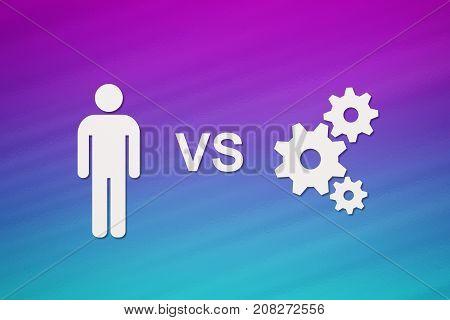 Paper man vs technology cogwheels mechanism. Abstract conceptual image