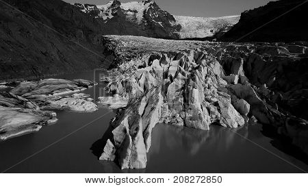 Skaftafellsjokull glacier moraine aerial view, Skaftafell National Park, Iceland