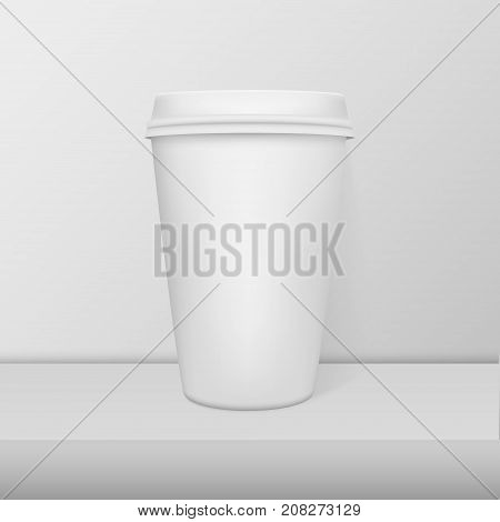 Realistic blank paper coffee cup White alarm clock closeup standing on white table. Design template, mockup for branding and advertise. Stock vector illustration, eps10.