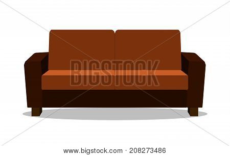 Realistic sofa Modern realistic comfortable sofa. Flat design Vector Illustration EPS