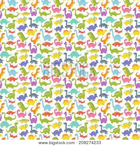 Dinosaur cartoon seamless pattern vector illustration. Cartoon dinosaurs cute monster background funny animal and prehistoric character. Cartoon comic tyrannosaurus fantasy beast.