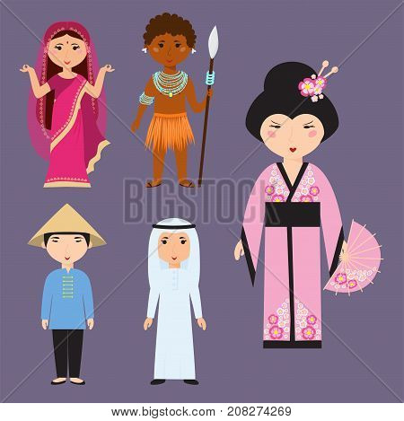 Set of diverse people avatars cartoon young happy characters different nationalities clothes and hair styles. Cute and simple flat cartoon vector illustration.