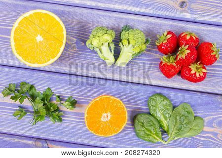 Fruits And Vegetables Containing Vitamin C And Minerals, Healthy Lifestyle And Nutrition Concept