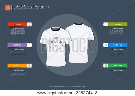 T-shirt sport design, Process infographic with six steps or options for your design,  Front and back view jersey uniform, Slim fit apparel mock up, Easy to modify photo file to add logo to shirt.