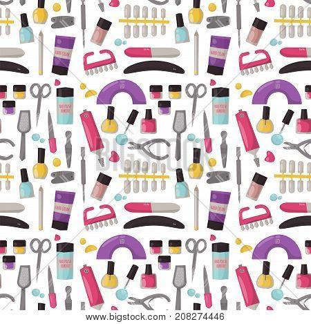 Manicure instruments seamless pattern background hygiene hand care pedicure salon tweezers fingernail. Fashion personal cosmetics equipment vector illustration.