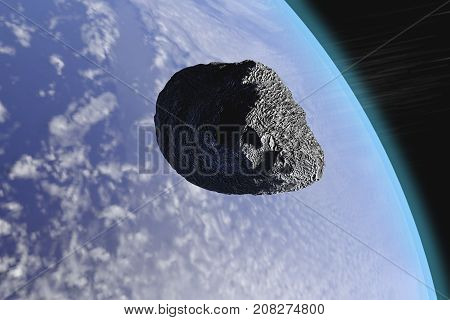 A 3-D illustration depicting an asteroid passing close to the Earth.