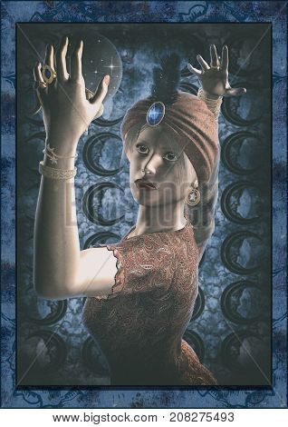 Portrait of a vintage fortune teller with a crystal ball. 3D Illustration.