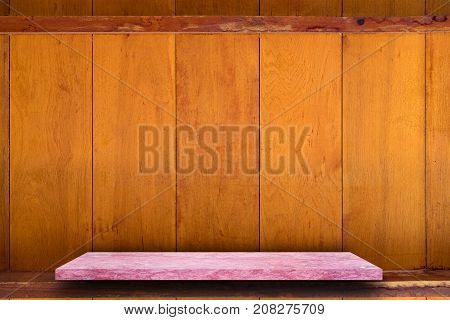 Empty Top Of  Marble Stone Table On Wooden Plank Wall Background. For Product Display