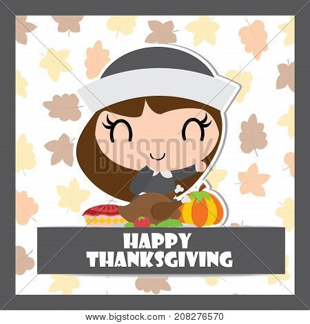 Cute pilgrim girl with roasted turkey and apple pie vector cartoon illustration for thanksgiving's day card design, wallpaper and greeting card