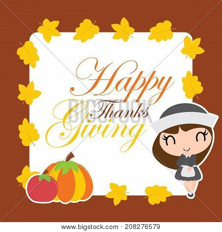 Cute pilgrim girl and pumpkin on maple leaves frame vector cartoon illustration for thanksgiving's day card design, wallpaper and greeting card