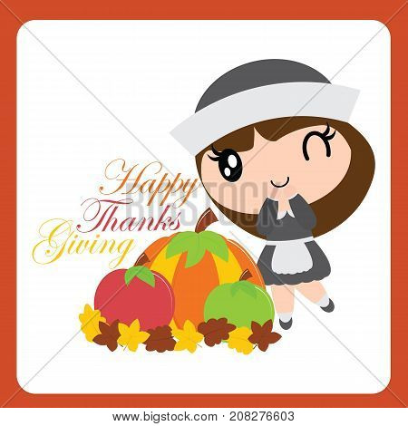 Cute pilgrim girl finds pumkin and apple on maple leaves vector cartoon illustration for thanksgiving's day card design, wallpaper and greeting card