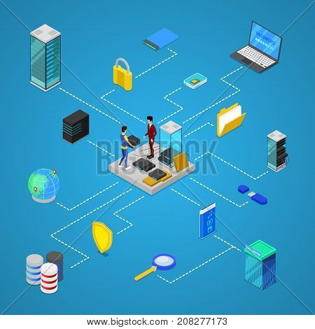 Data center with hosting servers equipment and staff isometric poster. Global communication, cloud database, computer technology infographics, network security and administration vector illustration