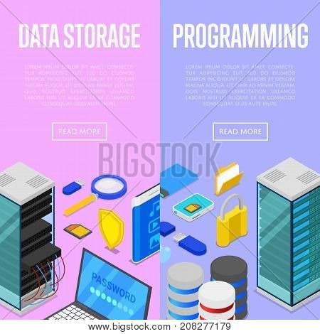 Data storage service and programing isometric posters. Global communication network, cloud database, computer technology, data security. Data center with hosting servers equipment vector illustration