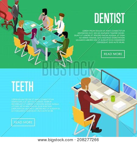 Corporate office life isometric posters. Team workspace concept with busy business people in conference room, man working in office at computer. Together professional occupation vector illustration