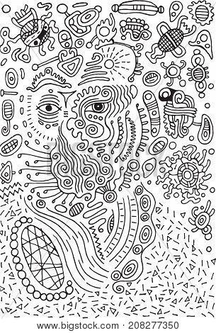 Surreal doodle alien on space. Illustration for design poster.