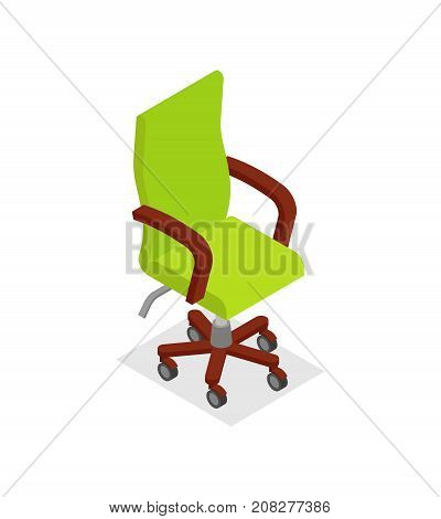 Office armchair isometric 3D icon. Empty seat for employee, green ergonomic armchair, furniture odject vector illustration.