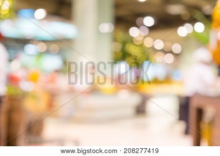 Blurred Background, Customer Shopping At Supermarket Store With Bokeh Light