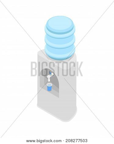 Water cooler dispenser isometric 3D icon. Office interior element, plastic bottle with water vector illustration.