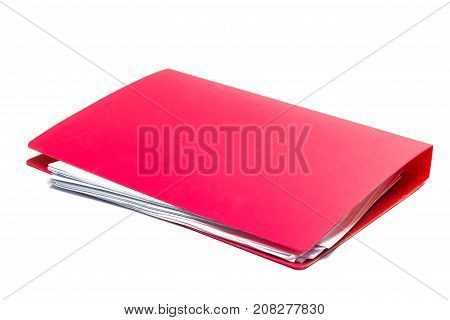 red files folder. retention of contracts and paper. with isolated white background