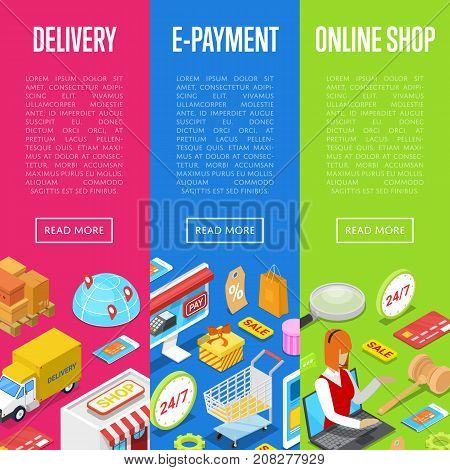 Online shopping and e-payment isometric 3D posters set. E-shopping concept with shopping bag, credit card, goods and products. Mobile marketing, fast home delivery service vector illustration.