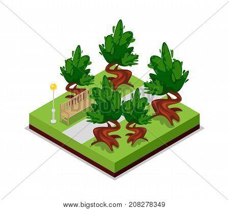 Park road and bench isometric 3D icon. Public park decorative plant and green grass vector illustration. Nature map element for summer parkland landscape design.