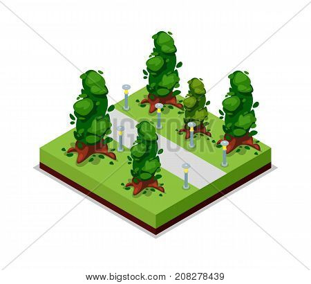 Park road and trees isometric 3D icon. Public park decorative plant and green grass vector illustration. Nature map element for summer parkland landscape design.