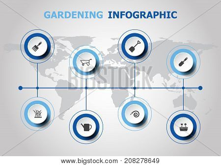 Infographic design with gardening icons, stock vector