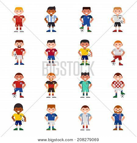 National Eurcup soccer football team players uniform vector illustration and world game captain leader sportsmen with soccerball characters. Active winner playing group.
